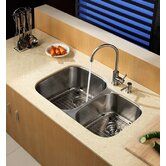 32 inch Undermount Double Bowl Stainless Steel Kitchen Sink with Kitchen Faucet and Soap Dispenser