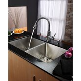 "33"" Undermount 50/50 Double Bowl Kitchen Sink with 28.5"" Faucet and Soap Dispenser"