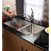 "33"" Undermount 70/30 Double Bowl Kitchen Sink with 11"" Faucet and Soap Dispenser"