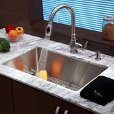 "Stainless Steel Undermount 30"" Single Bowl Kitchen Sink with Kitchen Faucet and Soap Dispenser"