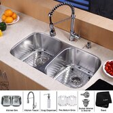 "14.5"" x 16.5"" Undermount Kitchen Sink with Faucet and Soap Dispenser"