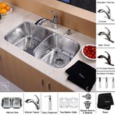 "32"" Undermount 50/50 Double Bowl Kitchen Sink with 11"" Faucet and Soap Dispenser"