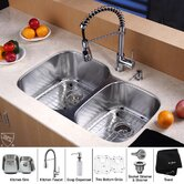 "32"" Undermount 60/40 Double Bowl Kitchen Sink with 20"" Faucet and Soap Dispenser"