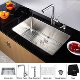 "30"" Undermount Single Bowl Kitchen Sink with 13.4"" Faucet and Soap Dispenser in Chrome"