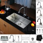 "30"" Undermount Single Bowl Kitchen Sink with 14.9"" Faucet and Soap Dispenser in Chrome"