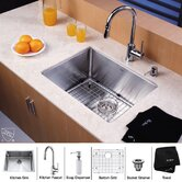 "23"" Undermount Single Bowl Kitchen Sink with 15"" Faucet in Chrome and Soap Dispenser"