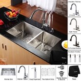 33 inch Undermount Double Bowl Stainless Steel Kitchen Sink with Kitchen Faucet and Soap Dispenser