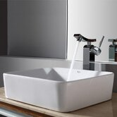 Combo Rectangular Ceramic Sink and Single Hole Faucet with Single Hande