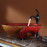 Copper Snake Glass Vessel Sink and Ventus Faucet