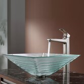 Clear Alexandrite Glass Vessel Sink and Virtus Faucet