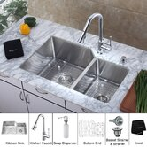32 inch Undermount Double Bowl Kitchen Sink with Chrome Kitchen Faucet and Soap Dispenser