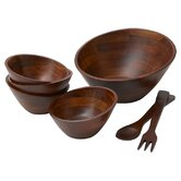 Rubberwood Angle 7 Piece Salad Serving Set