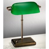 One Light Bankers Table Lamp in Antique Bronze