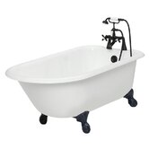 Windsor Cast Iron Bath Tub Faucet Package 1 in White