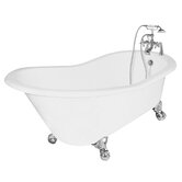 Wintess Cast Iron Bath Tub Faucet Package 1 in White