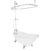 Wintess Cast Iron Bath Tub Faucet Package 2 in White