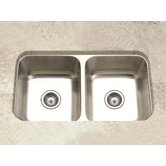 Elite Undermount Double Bowl 50/50 Kitchen Sink in Satin