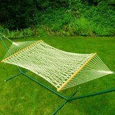 Deluxe Single Cotton Rope Hammock with Stand