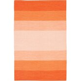 India Orange Striped Rug