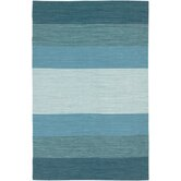 India Blue Striped Rug