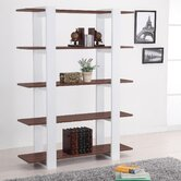 Ellise Bookcase/Display Stand in Matte Walnut and White