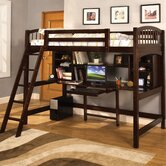 Alexis Twin Loft Bed with Desk and Bookshelves