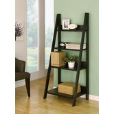 Tahoe Four-Shelves Ladder Style Bookcase / Display Cabinet in Black