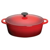 Molten Cast Iron Oval Casserole with Lid in Red