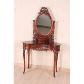 Carved Wood Vanity with Mirror