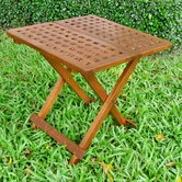 Acacia Patio Checkerboard Square Folding Side Table