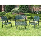 Iron Patio Diamond Lattice 4 Piece Lounge Seating Group
