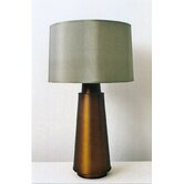 Tower Table Lamp in Bronze with Driftwood Silk Shade