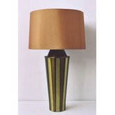 Striped Gemini Table Lamp in Olive with Gold Shade