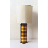 Striped Cylinder Table Lamp in Bronze with Pebble Shade