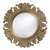 Anita Round Framed Mirror in Antique Silver
