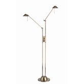 Rhine Double Arm Floor Lamp in Antique Brass