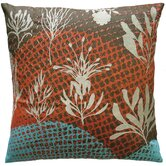 "Ecco 20"" x 20"" Embroidered Pillow with Off White Leaves"