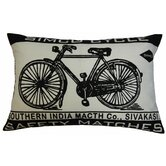 Match Co 13&quot; x 20&quot; Pillow with Ecru / Black Bicycle Print
