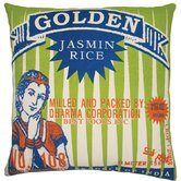 "Rice 20"" x 20"" Pillow with Golden Print"