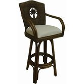 "Lucaya Indoor Swivel Rattan and Wicker 24"" Counter Stool in TC Antique"