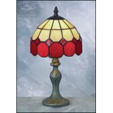 Bistro Tiffany Table Lamp in Beige and Red