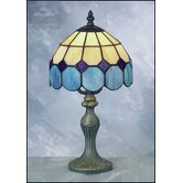 Bistro Tiffany Table Lamp in Beige and Blue