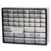Stackable Cabinets, 44 Drawers, 20&quot;x6-3/8&quot;x15-13/16&quot;, Gray