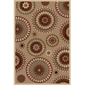 Fusion Retro Flowers Red Rug