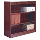 Square Corner Bookcase, Finished Back, Wood Veneer, 3-Shelf, 36x12x36, Med. Oak