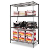 "48"" W x 24"" D Industrial Wire Shelving Starter Kit in Black"