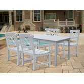 Bradley Rectangular Extension Dining Table and Four Cross Armchairs Set