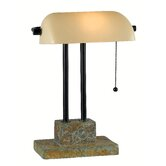 Greenville One Light Banker Lamp in Natural Slate