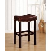 Tudor Backless Leather Barstool in Antique Brown