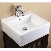 18inches Ceramic lav sink top - square vessel w/overflow (single faucet hole)